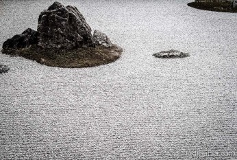 The famous Zen rock garden at Ryonanji Temple, Kyoto.