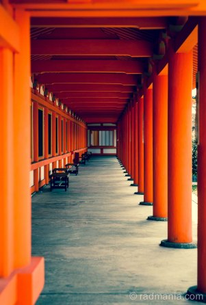 The external corridor at Sanjusangendo Temple, Kyoto.