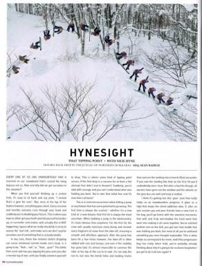 Nick Hyne's wise words alongside my photo in NZ Snowboarder Issue 58.