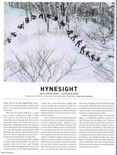 Nick Hyne's wise words alongside my photo in NZ Snowboarder Issue 58.
