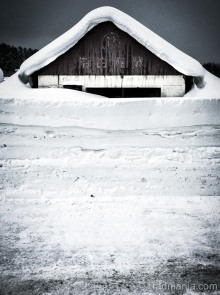 Niseko barn buried by snow.