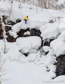 Droppin' bombs on Niseko backcountry pillows.