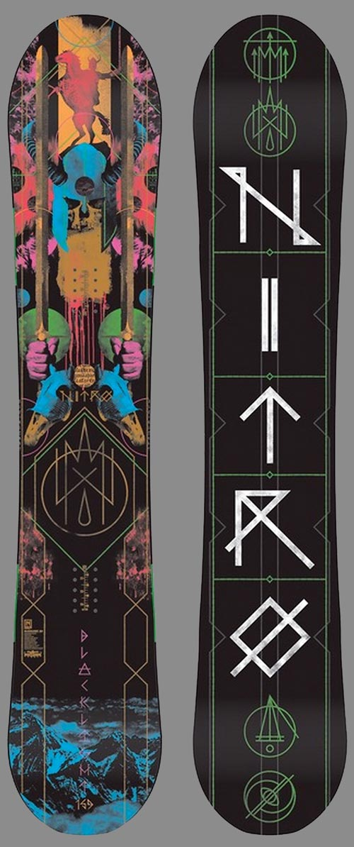Epic 2015 Nitro Blacklight Gullwing 159 topsheet and base graphics.