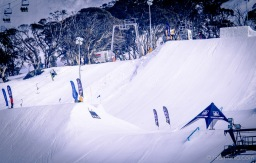 Kyle Mack spinning over Perisher's last jump for The Mile High.