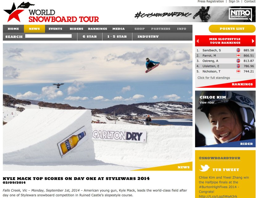 Kyle Mack frontside 720 on day one of Stylewars on World Snowboard Tour's website. Photo and press release text by Sean Radich.