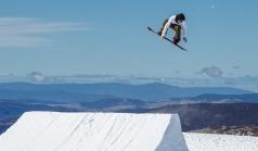 Marcus Kleveland snowboarding at Mt Hotham, Australia