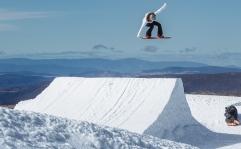 Silje Norendal snowboarding at Mt Hotham, Australia